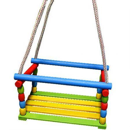 Fa (Retro) színes hinta kötéllel